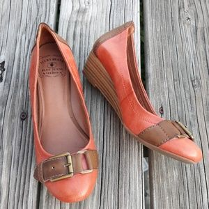 Lucky Brand Orange Wedges Size 6.5
